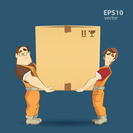 Illustration for Transportation and delivery company illustration. Two workers mover man holding and carrying big heavy carton cardboard box. 3d color vector creative concept with characters. - Royalty Free Image