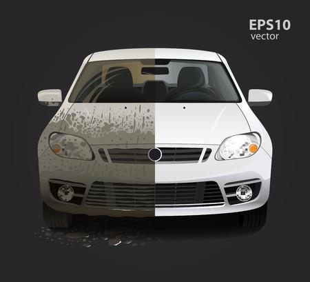Illustration pour Car wash service creative concept. Hd high detailed 3d color vector illustration. - image libre de droit