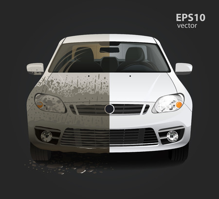 Illustration for Car wash service creative concept. Hd high detailed 3d color vector illustration. - Royalty Free Image