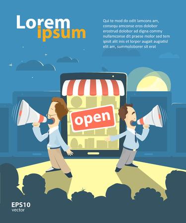 Illustration for E-shop, online store, internet shop promotion advertisement presentation illustration. Grand opening. - Royalty Free Image