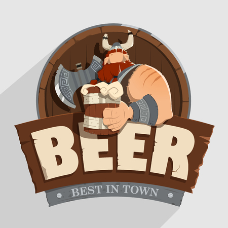 Illustration pour Creative wall street pub bar beer shop character sign design Old fashioned style - image libre de droit
