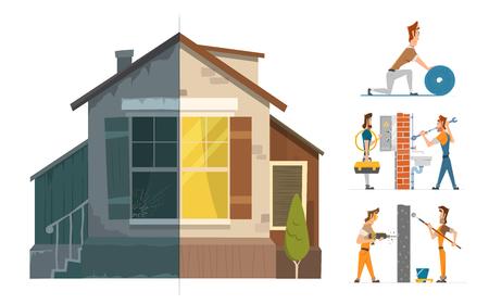 Illustration pour Home house repair renovation service. Before and after creative concept. Color vector illustration. - image libre de droit