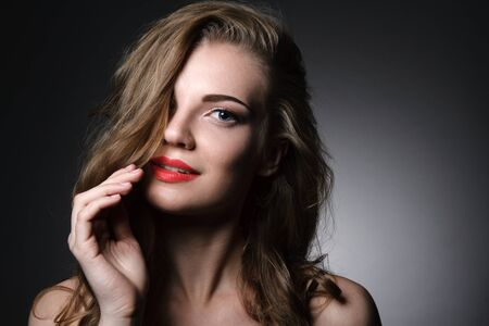 Photo for Beautiful caucasian young woman with red lips make up - Royalty Free Image