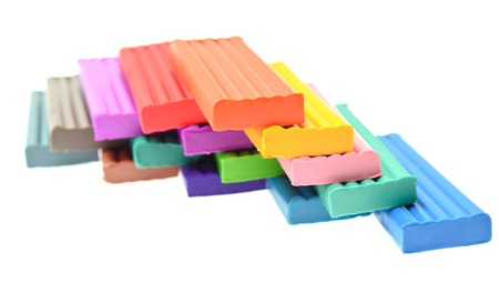 colored plasticine isolated on the white background.