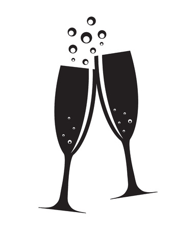 Foto de Two Glasses of Champagne Silhouette Vector Illustration - Imagen libre de derechos