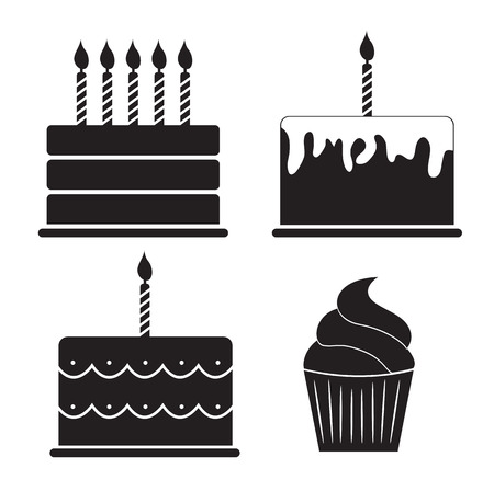 Vektor für Birthday Cake Silhouette Set Vector Illustration - Lizenzfreies Bild