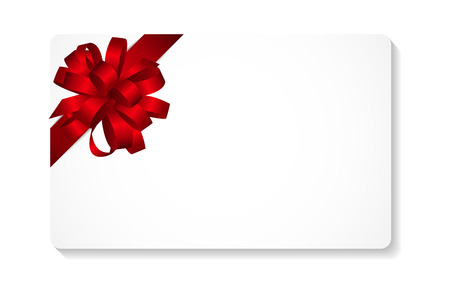Illustration pour Gift Card with Red Bow and Ribbon Vector Illustration   - image libre de droit