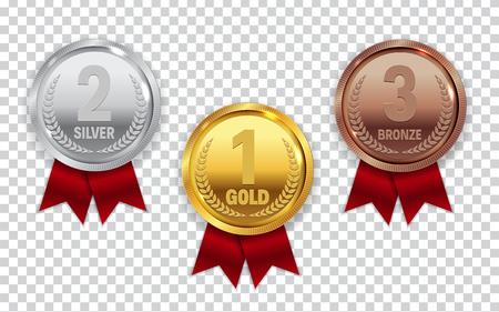 Ilustración de Champion Gold, Silver and Bronze Medal with Red Ribbon Icon Sign - Imagen libre de derechos