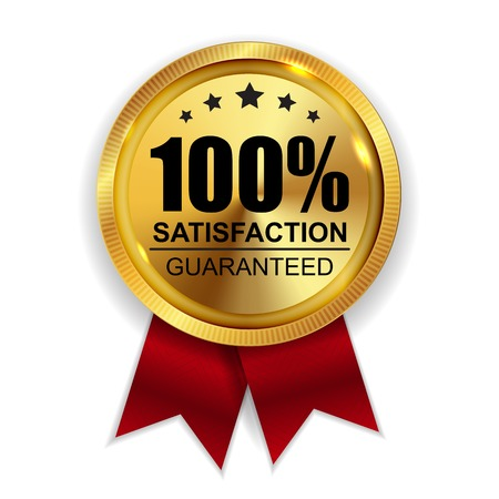 Illustration pour 100% Satisfaction Guaranteed Golden Medal Label Icon Seal  Sign Isolated on White Background. - image libre de droit