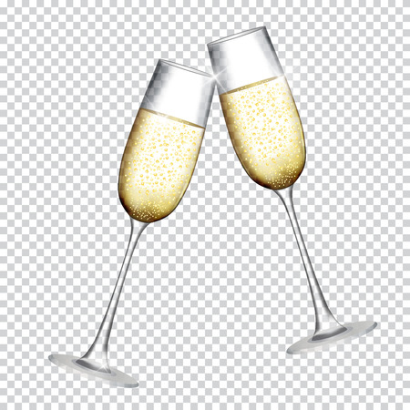 Illustration pour Two Glass of Champagne Isolated on Transparent Background. Vector Illustration - image libre de droit