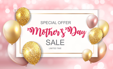 Illustration for Happy Mother`s Day Cute Sale Background with Flowers. Vector Illustration - Royalty Free Image
