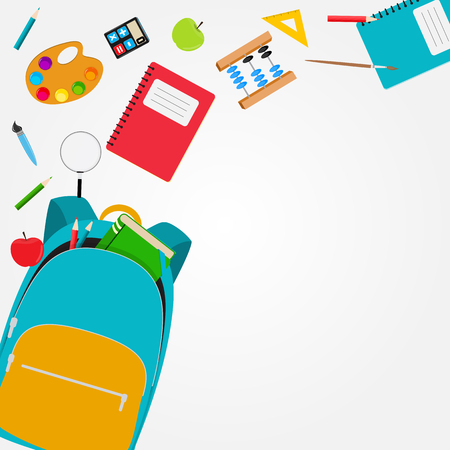 Photo for Bag, backpack icon with school accessories. Vector Illustration - Royalty Free Image