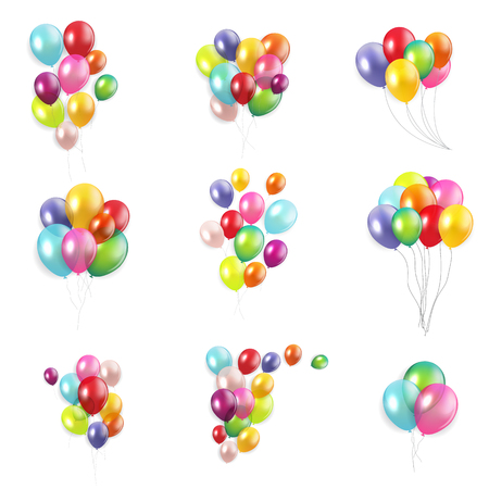 Illustration pour Glossy Happy Birthday Concept with Balloons isolated on white background collection set. Vector Illustration eps10 - image libre de droit
