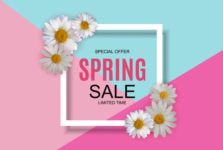 Illustration pour Spring Sale Cute Background with Colorful Flower Elements. Vector Illustration EPS10 - image libre de droit