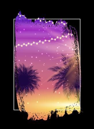 Illustration pour Summer Night Beach Poster. Tropical Natural Background with Palm.  Decor for fabric, textile, clothes Vector Illustration - image libre de droit