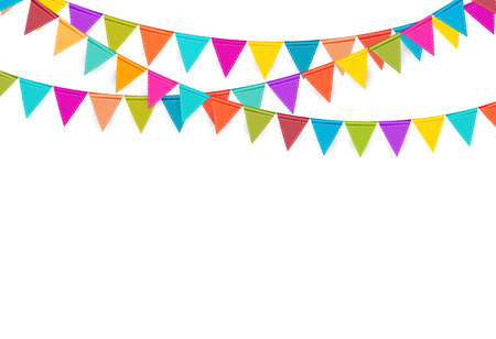 Illustration for Party Background with Flags Vector Illustration. - Royalty Free Image