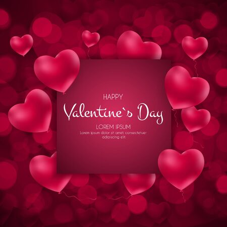 Illustration for Happy Valentines Day Card with Heart. Vector Illustration - Royalty Free Image