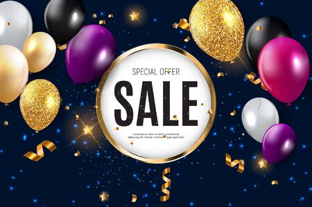 Illustration for Sale banner with floating balloons. Vector illustration. - Royalty Free Image