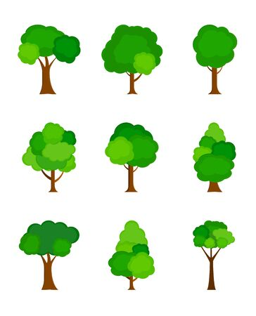 Illustration for Flat tree silhouette colored isolated on white background. Vector Illustration. EPS10 - Royalty Free Image