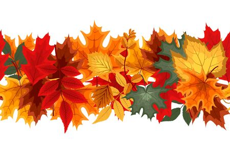 Illustration for Autumn Seamless Border with Falling Autumn Leaves. Vector Illustration  EPS10 - Royalty Free Image