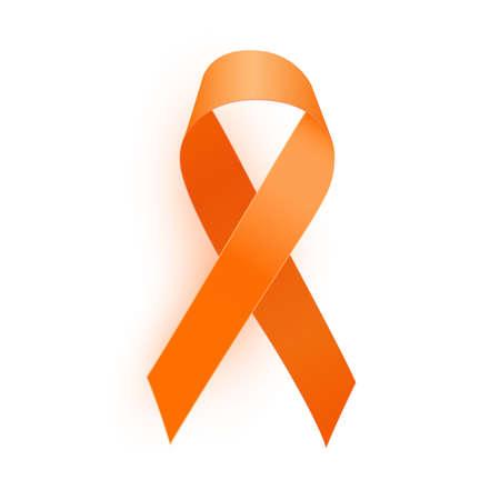 Illustration for Orange Ribbon a Medical Symbol of Leukemia. Vector Illustration EPS10 - Royalty Free Image