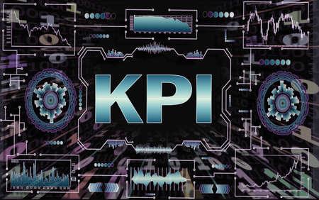 Foto de Concept business, technology, blockchain, internet and future network concept of computers. Tunnel of binary code on black background. The inscription KPI key performance indicators - Imagen libre de derechos