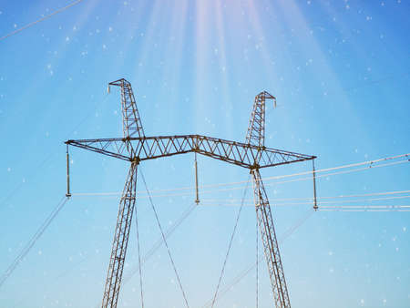 Photo for Electric transmission line. Power transmission pylon silhouette against blue sky at dusk. The concept of electrification - Royalty Free Image