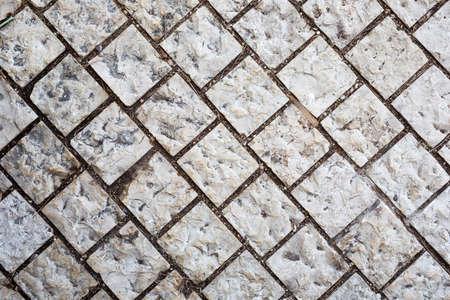 Photo for Stone walkway. Background of stone gray bricks. Haifa Israel. - Royalty Free Image