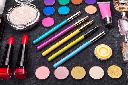 Photo pour colorful luxury decorative cosmetics. colorful patern makeup - image libre de droit