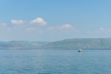 Sea of Galilee in Israel at foggy spring day