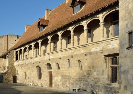 The French ancient castle of the Renaissance style is located in the town Nerac. This is a wing of the original fortress with a round tower and an arcaded balcony with decorative columns.