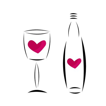 Wine Glass And Bottle With A Heart Shaped Pattern Inside Concept Alcoholic Drinks For Design Tasmeemme Com