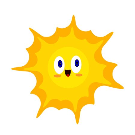 Illustration for Orange sun bright cartoon character with blue sparkling eyes and a sweet smile. Symbol of heat and summer object on a white background concept of nature and environment - Royalty Free Image