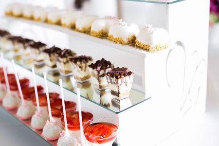 Photo pour Buffet with a variety of delicious sweets, food ideas, celebration. - image libre de droit