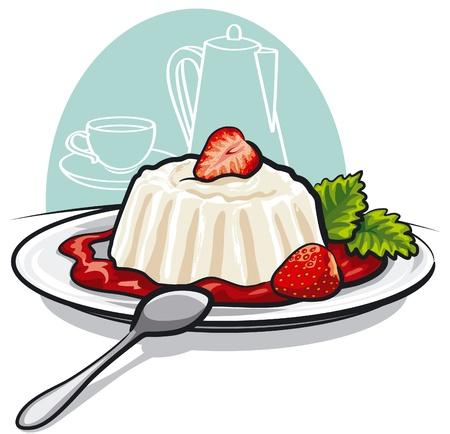Dessert with cream and strawberries