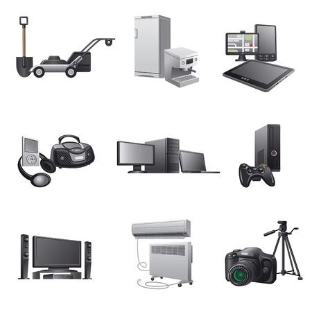 household appliances icon set2