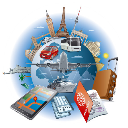 llustration of concept travel around the world famous landmarks by transport air, car, train, cruise ship