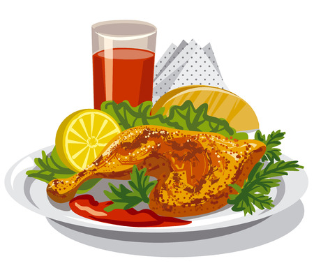 illustration of roasted chicken thigh with tomato sauce and juice