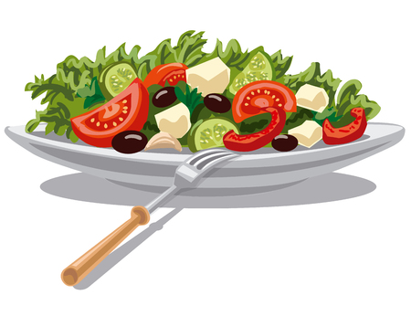 Illustration for illustration of fresh greek salad with lettuce, tomatoes and olives - Royalty Free Image