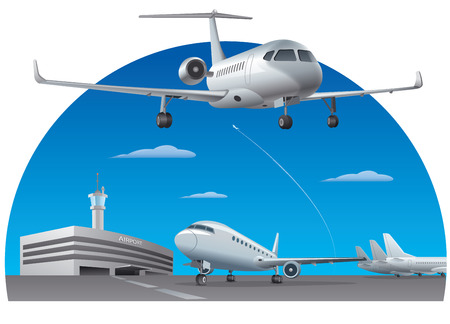 Illustration for illustration of airport building with passenger airplanes - Royalty Free Image