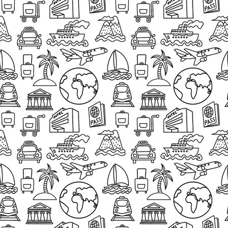 Illustration pour Black and white travel seamless pattern of resort, cruise and transport - image libre de droit