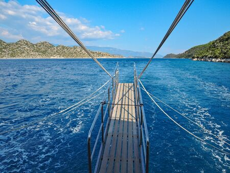 Photo pour  photo image of sailing yacht for resort in mediterranean sea in the middle of the day - image libre de droit
