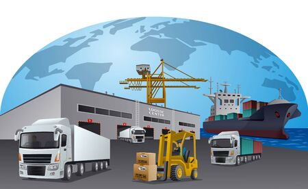 illustration of the transport logistics center and transport