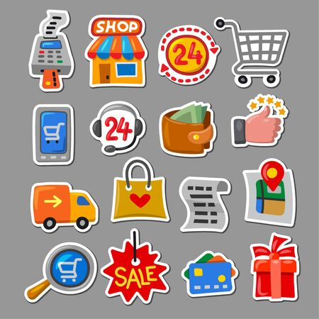 Illustration for illustration of the set shopping and sale stickers in a cartoon style - Royalty Free Image