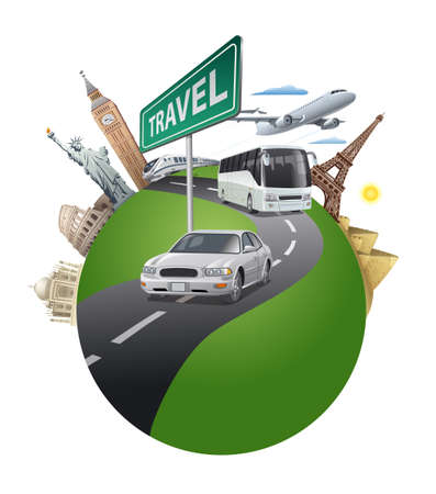 Illustration pour concept illustration of travel around the world famous landmarks by the transport - image libre de droit