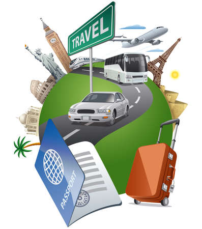 Illustration for concept illustration of travel around the world famous landmarks by the transport - Royalty Free Image