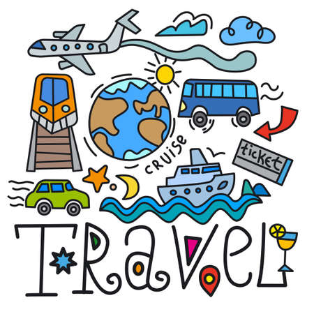 Illustration pour illustration of the travel inscription and signboard - image libre de droit