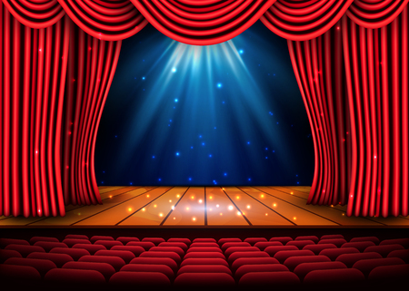 Illustration for A theater stage with a red curtain and a spotlight and wooden floor. - Royalty Free Image