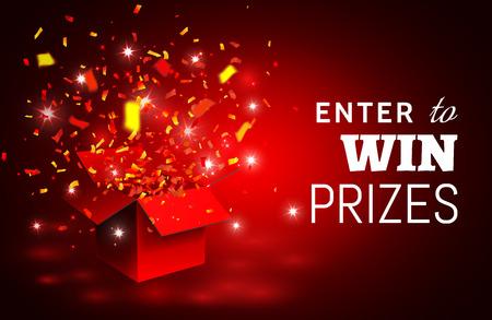 Ilustración de Open Red Gift Box and Confetti. Enter to Win Prizes. Vector Illustration. - Imagen libre de derechos