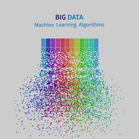 Illustration pour BIG DATA Machine Learning Algorithms. Analysis of Information Minimalistic Infographics Design. Science/Technology Background. Vector Illustration. - image libre de droit